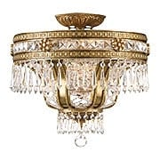 Regal Semi-Flush Crystal Ceiling Light In Aged Brass Finish (item #RS-03CR-5153-AG-CL-MWP)
