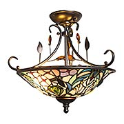 Peony Crystal Tiffany Semi Flush Mount (item #RS-03DT-TH90212)