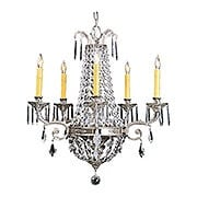 Baroness 5 Light Crystal Chandelier With Polished Silver Finish (item #RS-03FR-1145-PS)