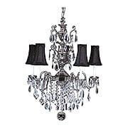 Czarina 5 Light Crystal Chandelier With Black Silk Shades (item #RS-03FR-9285-AS-BLACK)