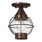 Cape Cod Flush Ceiling Light With Clear Seedy Glass (item #RS-03HK-2203X)