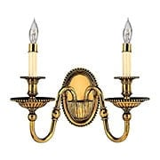 Cambridge Double Candle Sconce in Solid Brass (item #RS-03HK-4412X)
