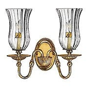 Cambridge Double Sconce With Clear Optic Glass Shades (item #RS-03HK-4642BB)