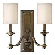 Sussex Double Sconce with Fabric Cylinder Shades (item #RS-03HK-4792X)
