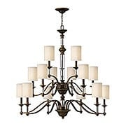Sussex Three Tier Chandelier With Fabric Cylinder Shades (item #RS-03HK-4799X)