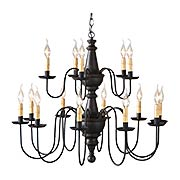 Harrison Wood & Tin Two-Tier 15-Light Chandelier (item #RS-03IW-9157TX)