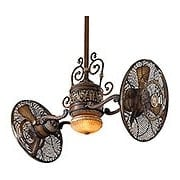 Traditional Gyro Twin Ceiling Fan In Belcaro Walnut Finish (item #RS-03MA-F502-BCW)