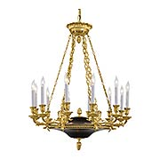 French Empire 12 Light Chandelier In Dore Gold & Black (item #RS-03ML-N2247)