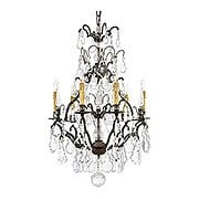 French Crystal 6 Light Chandelier With Patina Bronze Finish (item #RS-03ML-N561A-BZ)
