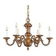 English Georgian 6 Light Chandelier In Classic Brass Finish (item #RS-03ML-N700206)