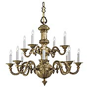 English Georgian 12-Light Chandelier in Classic Brass (item #RS-03ML-N700212)