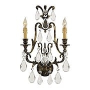 French Crystal 2 Light Sconce In Oxidized Brass Finish (item #RS-03ML-N952115)