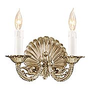 Scallop Shell Double Sconce In Polished Chrome Finish (item #RS-03ML-N9805-PC)