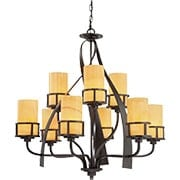 Kyle Two Tier 9-Light Chandelier in Imperial Bronze (item #RS-03QZ-KY5009IB)