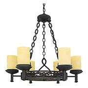 La Parra 6 Light Chandelier With Amber Glass Candles (item #RS-03QZ-LP5006IB)