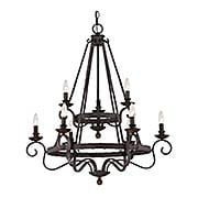 Noble Two Tier 9-Light Chandelier (item #RS-03QZ-NBE5009RK)