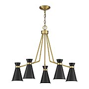 Lamar Black With Brass Accents 5 Light Chandelier (item #RS-03SHL-1-2415-5-143)