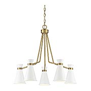 Lamar White With Warm Brass 5 Light Chandelier (item #RS-03SHL-1-2415-5-160)