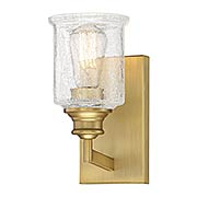 Hampton Warm Brass 1 Light Bath (item #RS-03SHL-9-1972-1-322)