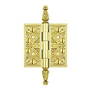 "3 1/2"" Premium Brass Aesthetic Pattern Hinge With Decorative Steeple Tips (item #RS-04DH-DSBP35X)"