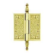 "4"" Premium Brass Aesthetic Pattern Hinge With Decorative Steeple Tips (item #RS-04DH-DSBP44X)"