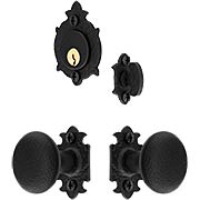 Warwick Rosette & Knob Mortise Entry Set With Black Lacquer Finish (item #RS-05AH-WTJBIX)