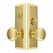 New York Large-Plate Mortise Entry Set In Forged Brass (item #RS-05BM-KKA-8746X)