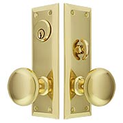 New York Small-Plate Mortise Entry Set in Stamped Brass (item #RS-05BM-KKB-8746X)