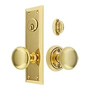 New York Large-Plate Mortise Entry Set with Rosette Interior (item #RS-05BM-KKC-8746X)