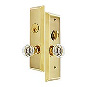 Harrison Mortise Entry Set with Old Town Crystal-Glass Knobs (item #RS-05EM-3551OTX)