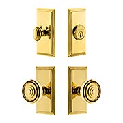 Grandeur Carre Entry Door Set with Soleil Knobs (item #RS-05NW-CP-CARSOLX)