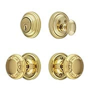 Classic Rosette Entry Set with Ovolo Knobs (item #RS-05NW-CP-CLAAEDX)