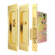 Premium Privacy Pocket-Door Mortise Lock Set with Rectangular Pulls (item #RS-06UN-FH27PD8440X)