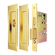Premium Patio Pocket-Door Mortise Lock Set with Rectangular Pulls (item #RS-06UN-FH27PD8460X)