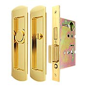 Premium Privacy Pocket-Door Mortise Lock Set with Rounded Pulls (item #RS-06UN-FH29PD8440-TT09X)