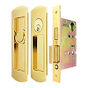 Premium Keyed Pocket-Door Mortise Lock Set with Rounded Pulls (item #RS-06UN-FH29PD8450-TT09X)