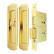 Premium Patio Pocket-door Mortise Lock set with Rounded Pulls (item #RS-06UN-FH29PD8460-TT09X)