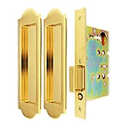 Premium Passage Pocket-Door Mortise Lock Set with Arched Pulls (item #RS-06UN-FH31PD8010X)