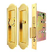 Premium Privacy Pocket-Door Mortise Lock Set with Arched Pulls (item #RS-06UN-FH31PD8440-TT09X)