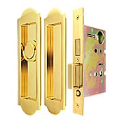 Premium Patio Pocket-door Mortise Lock set with Arched Pulls (item #RS-06UN-FH31PD8460-TT09X)