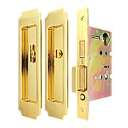 Premium Privacy Pocket-Door Mortise Lock Set with Chamfered Corner Pulls (item #RS-06UN-FH32PD8440X)