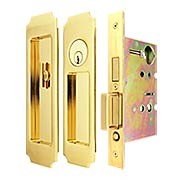 Premium Keyed Pocket-Door Mortise Lock Set with Chamfered Corner Pulls (item #RS-06UN-FH32PD8450X)
