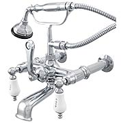 St. Andrews Clawfoot Tub Faucet with Porcelain Levers and Hand Shower (item #RS-07SC-P0790X)