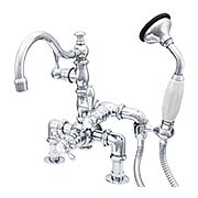 Deschutes Thermostatic Deck-Mount Clawfoot Tub Faucet with Side Hand Shower and American Levers (item #RS-07SC-P1015X)