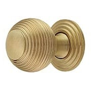 Solid-Brass Reeded Round Knob with Rosette - 1 1/4