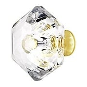 Lead Free German Crystal Diamond Cut Hexagonal Knob With Solid Brass Base (item #RS-08CCC-M31X)