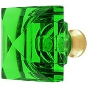 Green Lead-Free Square Crystal Knob with Solid Brass Base (item #RS-08CCC-M995-GREENX)