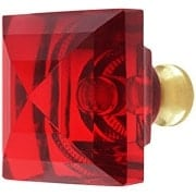 Red Lead-Free Square Crystal Knob with Solid Brass Base (item #RS-08CCC-M995-REDX)
