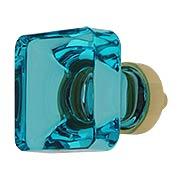 Lido Cyan Crystal Glass Cabinet Knob - 1-3/8