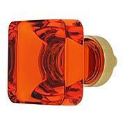 Lido Tangelo Crystal Glass Cabinet Knob - 1-3/8